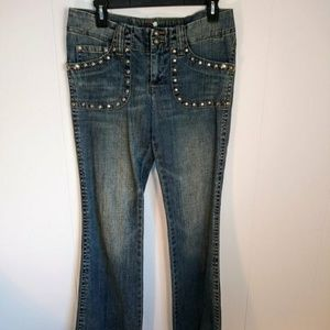 Candie's vintage 1980's silver studded blue jeans